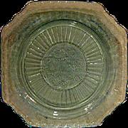 SOLD Blue Mayfair Open Rose Depression Glass Dinner Plate