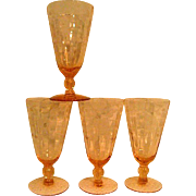 Four Pink Elegant Depression Glass Footed Wine Goblets with Floral Cutting