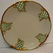 Two (2)  Hand Painted Dresden Pierced Reticulated Plates