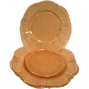 Four Pink American Sweetheart Depression Glass Salad Plates