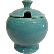 Vintage Fiesta Turquoise Footed Marmalade Jar complete with Lid Fiestaware