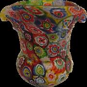 Hand Blown Murano Millefiori Vase