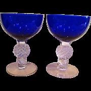 Two Cobalt Blue Morgantown Elegant Depression Glass Golf Ball High Sherbet Stems Goblets