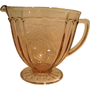 Pink Mayfair Open Rose Footed Depression Glass Creamer