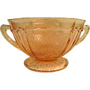 Pink Mayfair Open Rose Footed Depression Glass two Handled Sugar