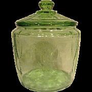 Green Depression Glass Cameo Ballerina Cookie Jar