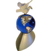 Swarovski Crystal Millennium Peace Dove with Globe on Stand