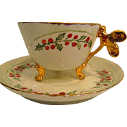 Hand Painted Limoges Butterfly Handled Footed Cup and Saucer