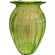 Green Adam Depression Glass Vase