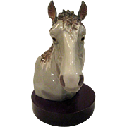 Lladro Bust of Horse Head on Wooden Base Figurine