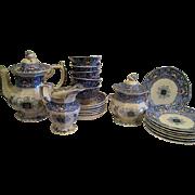 English Ironstone Transferware Tea Luncheon Set Zamara Dodecagon Design