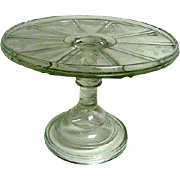 Early American Pattern Glass EAPG Spring Decorated Footed Cake Stand