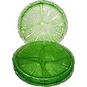 Four Green Depression Glass Cherry Blossom Grill Plates