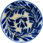 Lovely Hand Painted Brush Stroke Flow Blue Plate in Spinach Design