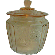 Pink Mayfair Open Rose Depression Glass Covered Cookie Jar