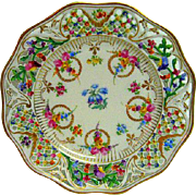 Dresden Hand Painted Floral Pierced Reticulated Plate
