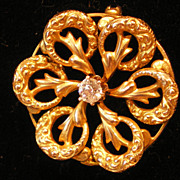 SALE 10K Gold .12 Full Cut Diamond  Antique Victorian Love Knot  Pin Brooch