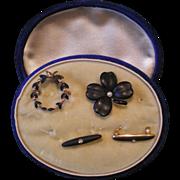 SOLD Antique c1900 14K Gold Enamel Clover Laurel Wreath Mourning Watch Beauty Pin Set