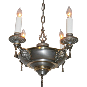Elegant Neoclassical Nickel and Brass 4-Candle Chandelier