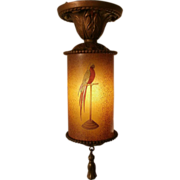 SOLD 1930'S Amber and Brass Parrot Hall or Entrance Light