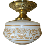 Neoclassical Acid Etched Milk Glass Flush Mount