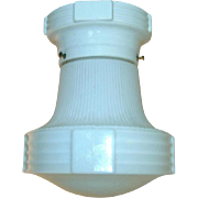 Vintage Markel White Art Deco Flush Mount Light Fixture