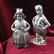 800 Silver Dutch Boy and Girl Full of Old World European Charm Vintage Figural Salt ...