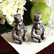 SOLD Rare Antique Pair of Monkeys with Handsome Top Hats Vintage Salt and Pepper Shakers ...