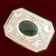 SOLD Gorgeous 800 Silver Box With Oval Chrysoprase and Repousse Shell Motif