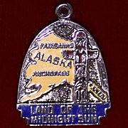 Alaska Land of the Midnight Sun Enameled 1960's Sterling Charm Inuit Totem Pole
