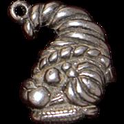 Scarce Sterling Thanksgiving Cornucopia Charm or Pendant Vintage Solid Silver Horn Of Plenty .