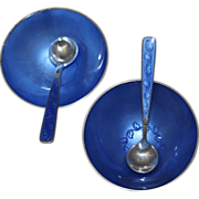 Sterling Danish Salt Cellars Set by Volmer Bahner With Two Cellars And Two Matching Spoons ...