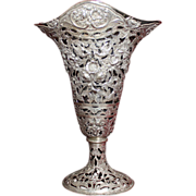 SOLD 800 Silver Vase With Liner in Beautiful Floral and Pheasants Theme