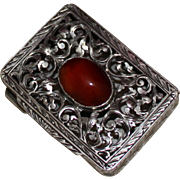 SOLD 800 Silver Box With Stone Cabochon and Lovely Openwork Lid With Hand Engraved Detail