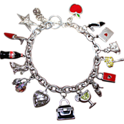 SALE Lovely Sterling Charm Bracelet Loaded 16 Sterling Charms Soldered on Thick Chain