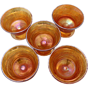 SOLD Five Carnival Glass Sherbet Cups in Marigold