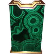 SOLD 1960's Malachite and 800 Silver Pen Holder With Opulent Vermeil