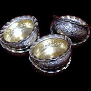 Rare 1883 Gorham Sterling Six Piece Set of Salt Cellars With Fluted Pie Crust Edges ...