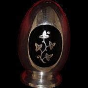 Sterling Black Enamel Salt Shaker By MEKA Vintage 1960's Solid Silver Denmark