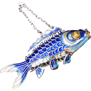 "Large Silver Fish, Chinese Articulated 3"" Long Cloisonne Carp, Solid Silver Blue Enamel"