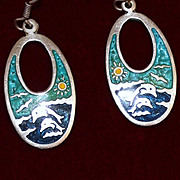 Sterling Earrings, Solid Silver Vacation Earrings With Dolphins and Pristine Enamel
