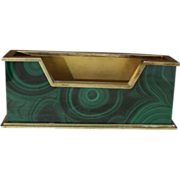 SOLD 1960's Malachite and 800 Silver Business Card Holder With Opulent Vermeil
