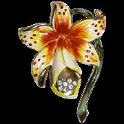 SALE Alexander Korda Enamel Orchid Floral Pin Brooch  1940s  Bk Pc