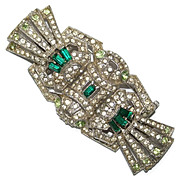 SALE Deco Style Green Rhinestone Duette Clips Pin Brooch 1930's