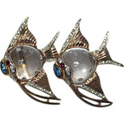 Coro Sterling Angel Fish Jelly Belly Duette Pin Brooch 1940's