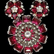 Trifari Sterling Ruby Red Earrings Pin Brooch 1940's