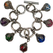 Glass Filigree Charm Bracelet Made In France