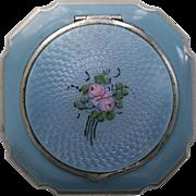 La Mode Blue Guilloche Enamel Rouge Powder Compact