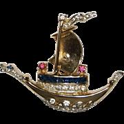 Coro Rhinestone Sailboat Brooch Pin 1940's
