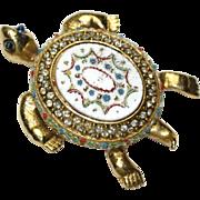 Coro Craft Figural Faux Mosaic Enamel Rhinestone Turtle Pin Brooch